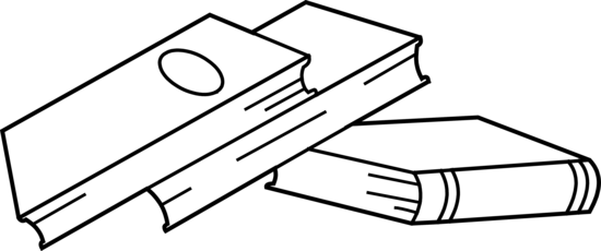 tilted books line drawing