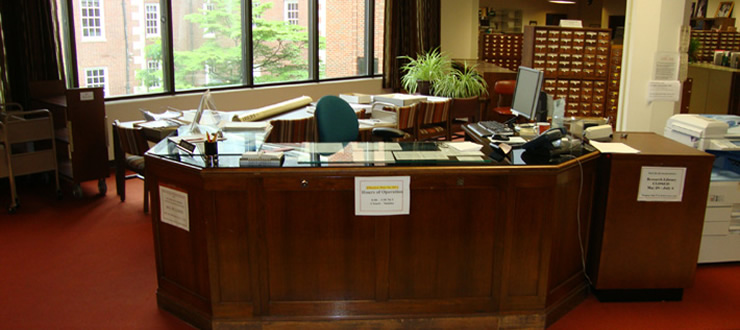 Reference Desk in Harrison-Baird Reading Room