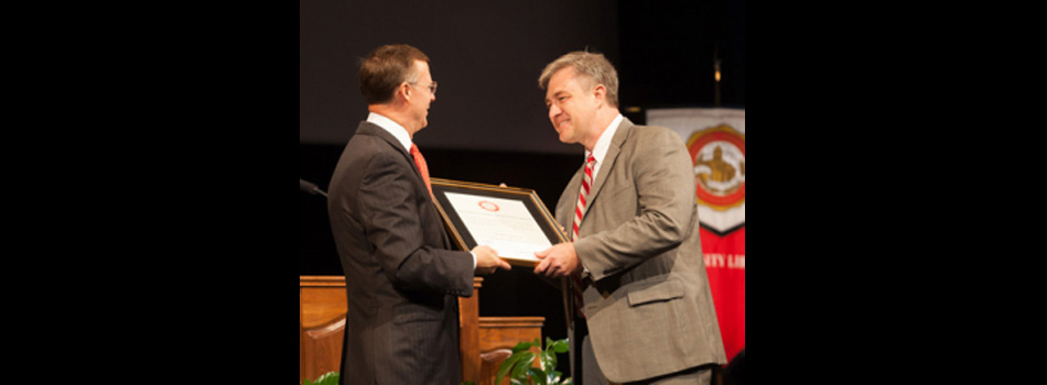 Mathematics Department Head Dr. Bruce Kessler received the 13th annual President's Spirit of Western Award. (WKU photo by Clinton Lewis)