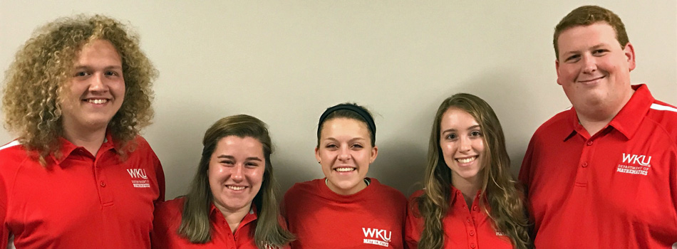 "Our Fall 2017 student ""Math Ambassadors"":  (from left) Jacob Menix, Rachel Turner, Mary Lacy, Kelsey Solmos, and Jared Thompson."
