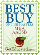 Our online MBA program is rated a best buy among AACSB accredited MBA programs.