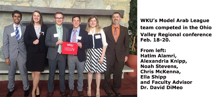 WKU's Model Arab League team competed last week in the Ohio Valley Regional conference, where several members were recognized with awards.