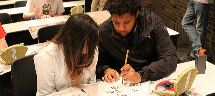 Chinese learner, Larry Conrad, at the Chinese Calligraphy Exhibit.