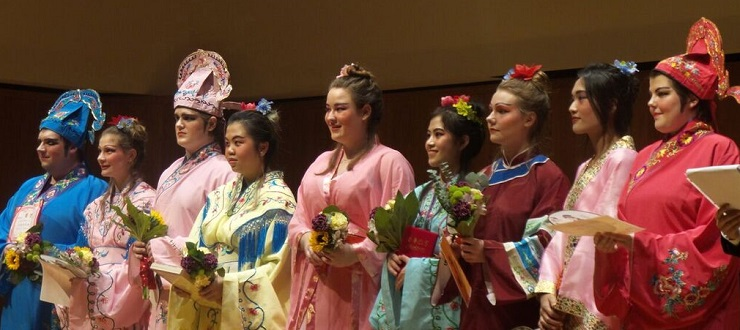 Cast members of a Beijing drama performed by students in the Chinese Majors & Minor Program.