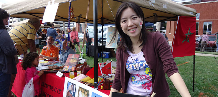 Modern Languages faculty and students volunteer at the Bowling Green International Festival (Han Ban teacher Yifang Zhang)