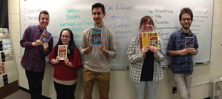 Students in the German Pop Culture course in spring 2015 display some of their learning materials.