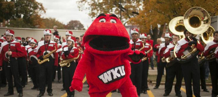 Big Red with WKU Marching Band