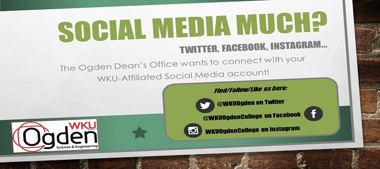 Social Media Much? Twitter, Facebook, Instagram.  We want to connect with your WKU-affiliated group on social media!