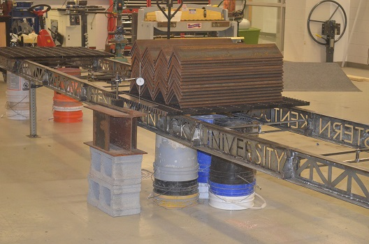 WKU Civil Engineering Steel Bridge Team's entry is load tested ahead of the April competition.