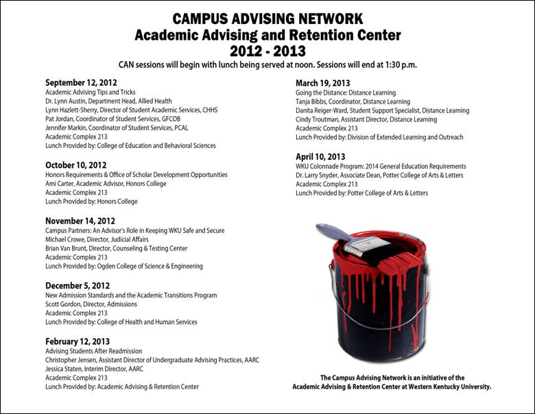 Campus Advising Network Schedule 2012-2013