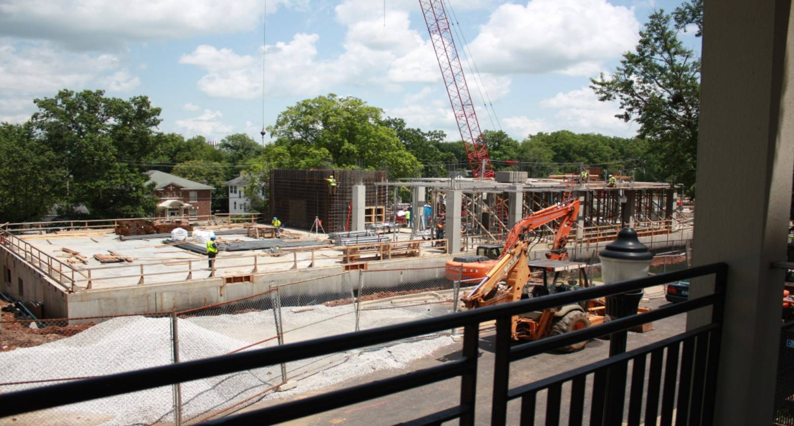 Construction underway on the new science building, Ogden College Hall.