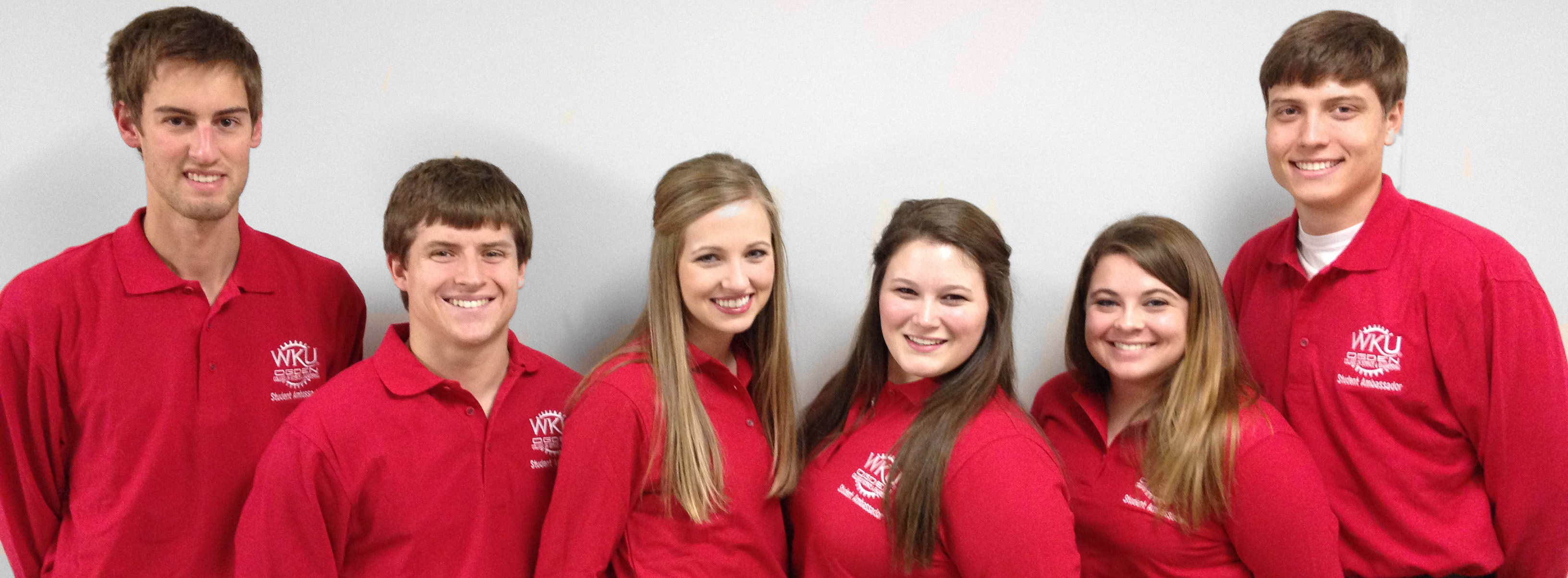 Ogden College Student Ambassadors. From left to right: Blake Neumann (Geography, Environmental & Sustainable Development), Dylan Ward (Civil Engineering), Ellen Vice (Biology, Pre-Dental), Chelsea Martin (Chemistry), Tori Hampton (Meteorology) &  Spencer Wright (Biology, Pre-Dental)