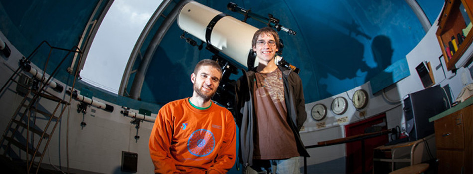 WKU students Andrew Gott (left) and Aaron C. Bell received Chambliss Astronomy Achievement Student Awards at the American Astronomical Society meeting.