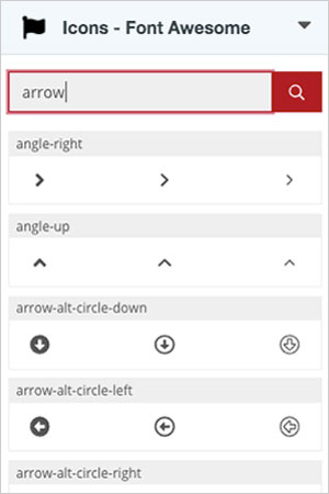 A screenshot of the Font Awesome gadget with search results for the term, arrow