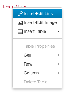 Right-click menu showing Insert/Edit Link option