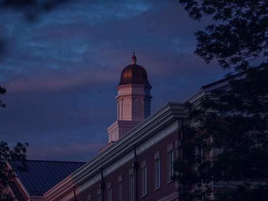 Gary Ransdell Hall cupola during a vivid sunset