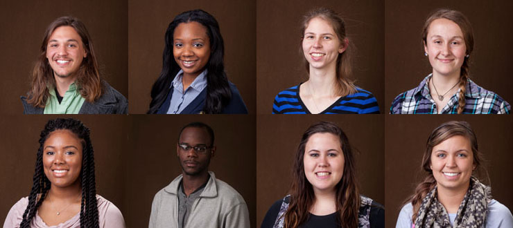 Photograph: Top row, from left: Scholarship recipients Tyler Allen of Flushing, Mich.; Kaleiah Brown of Gary, Ind.; Valerie Farsetti of Louisville; Alexandra Hezik of Campbellsville. Bottom row, from left: Scholarship recipients Asia Larkin of Whites Creek, Tenn.;  DaMario Walker-Brown of Lexington; alternates Margaret Riney of Owensboro, Keeley Stephens of Bowling Green.