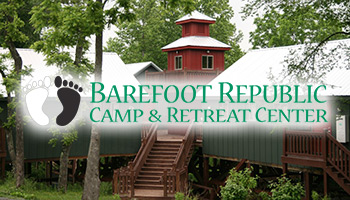 Barefoot Republic Camp & Retreat Center facilty and logo