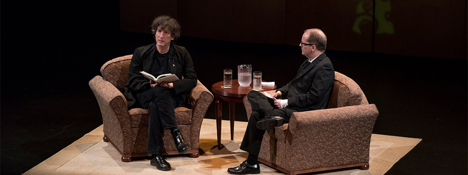 Neil Gaiman at WKU with Dr. David Bell.  Photo by William Kolb/Special to Potter College.
