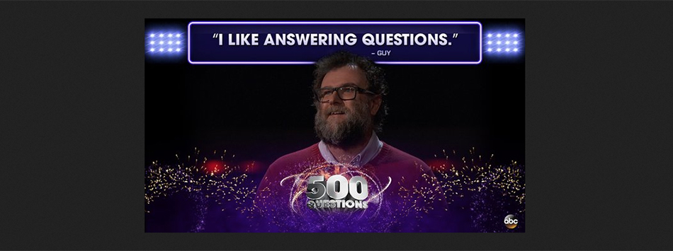 professor guy brown competes on ABC's 500 Questions game show