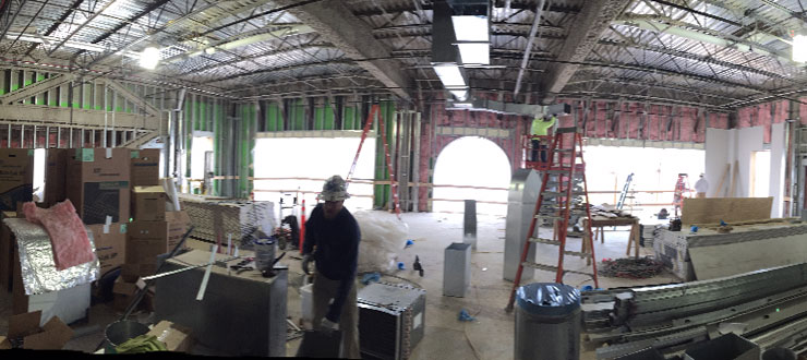 Interior construction work at Gatton Academy