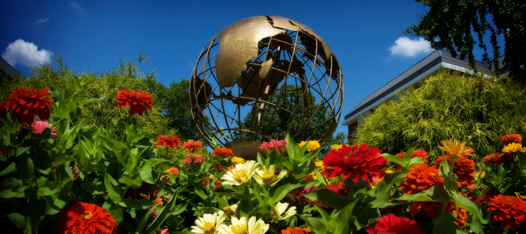 Image of Globe sculpture on WKU's campus