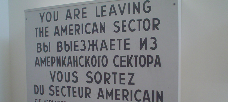 Berlin sign from Cold War with caption WKU political science offers IA major