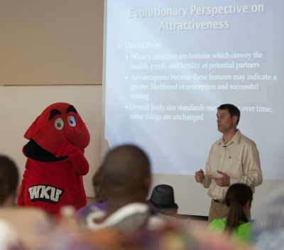 Dr. Wichman teaching with Big Red