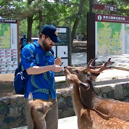 Farley feeding deer in Japan