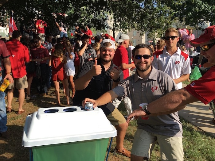 Fraternities Recycling during Tailgating Recycling Challenge