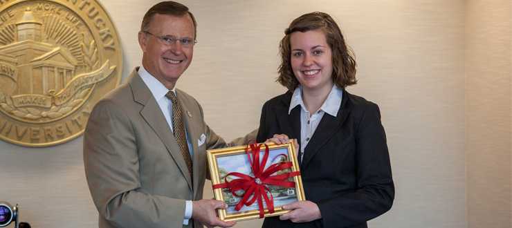 President Gary Ransdell recognized former WKU SGA President Nicki Taylor (Seay) for her time as Student Regent.