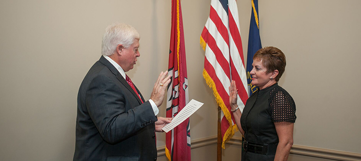 Julie A. Hinson was sworn in as a member of the WKU Board of Regents on August 19, 2016.