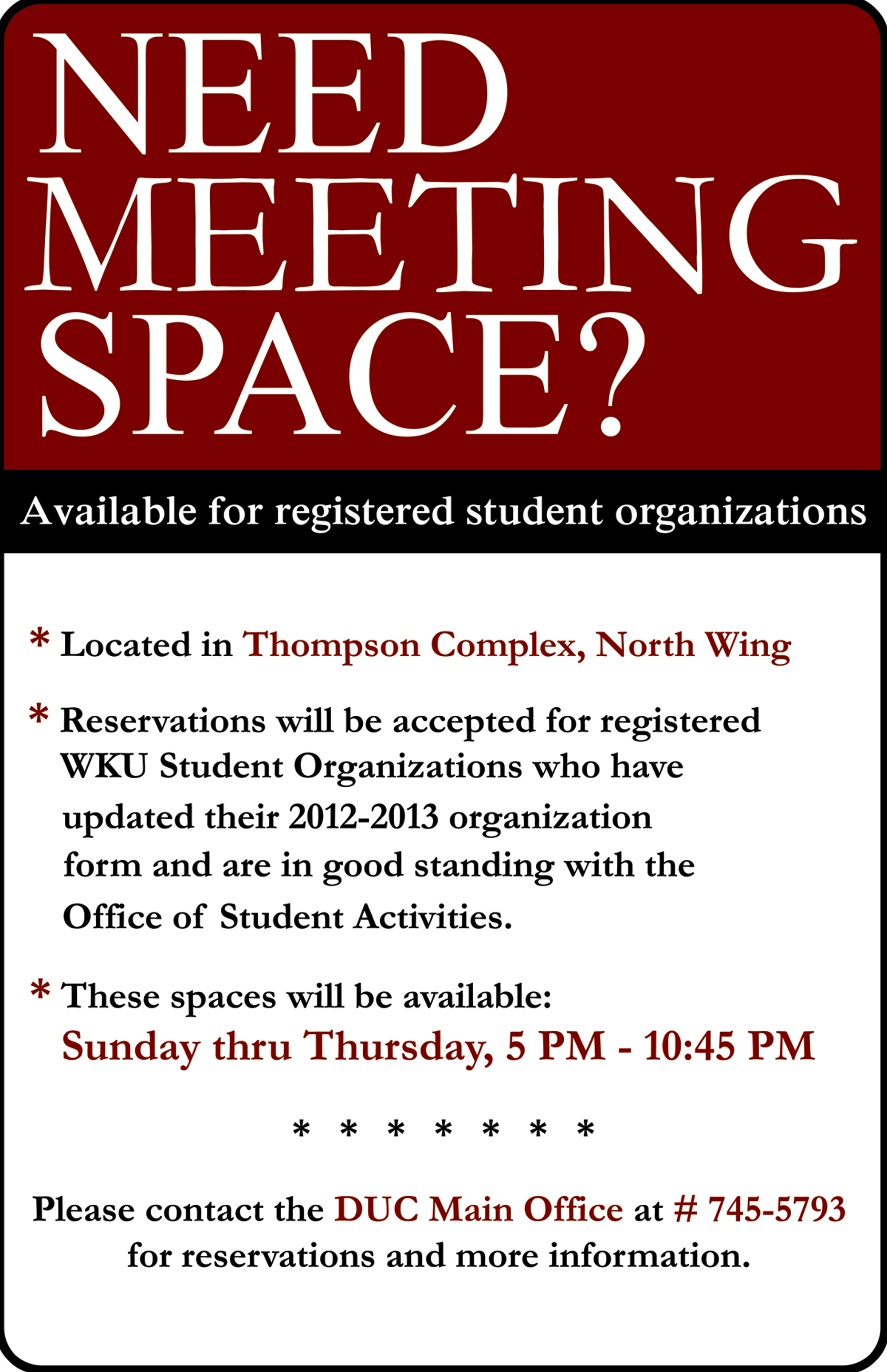 Need Meeting Space