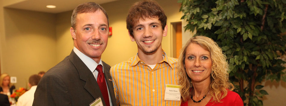 Craig and Deborah Browning with U.S. Bank Scholarship recipient, Parker Hanna