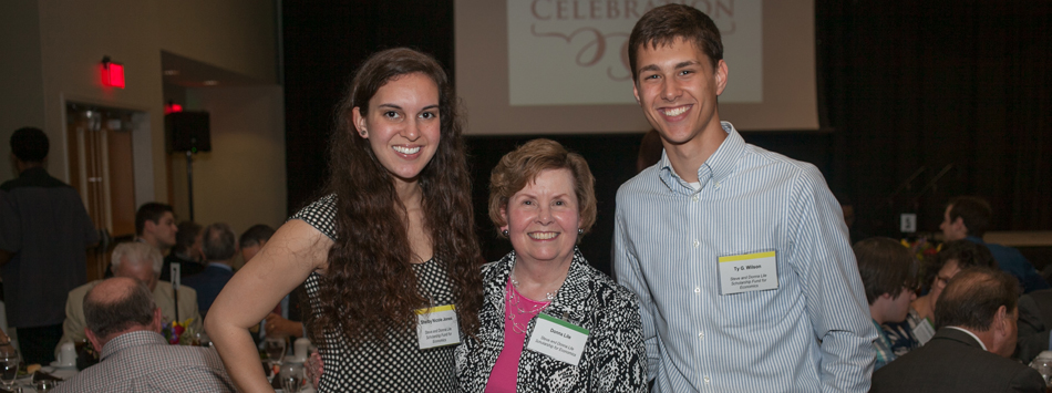 Donna Lile (center) meets Shelby Jones and Ty Wilson, recipients of the Steve and Donna Lile Scholarship.
