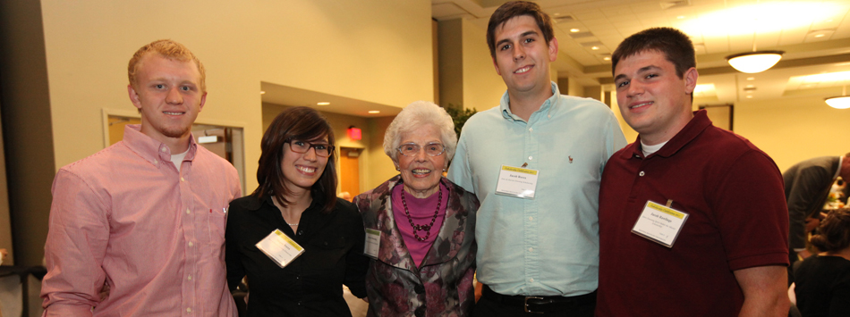 Harriet Downing with recipients of the Dero and Harriet Downing Scholarship