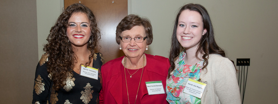 "Mary Frances Davenport (center) meets Hannah Clemmons and Hannah Wagoner, recipients of the Bowman ""Bo"" Davenport Scholarship"