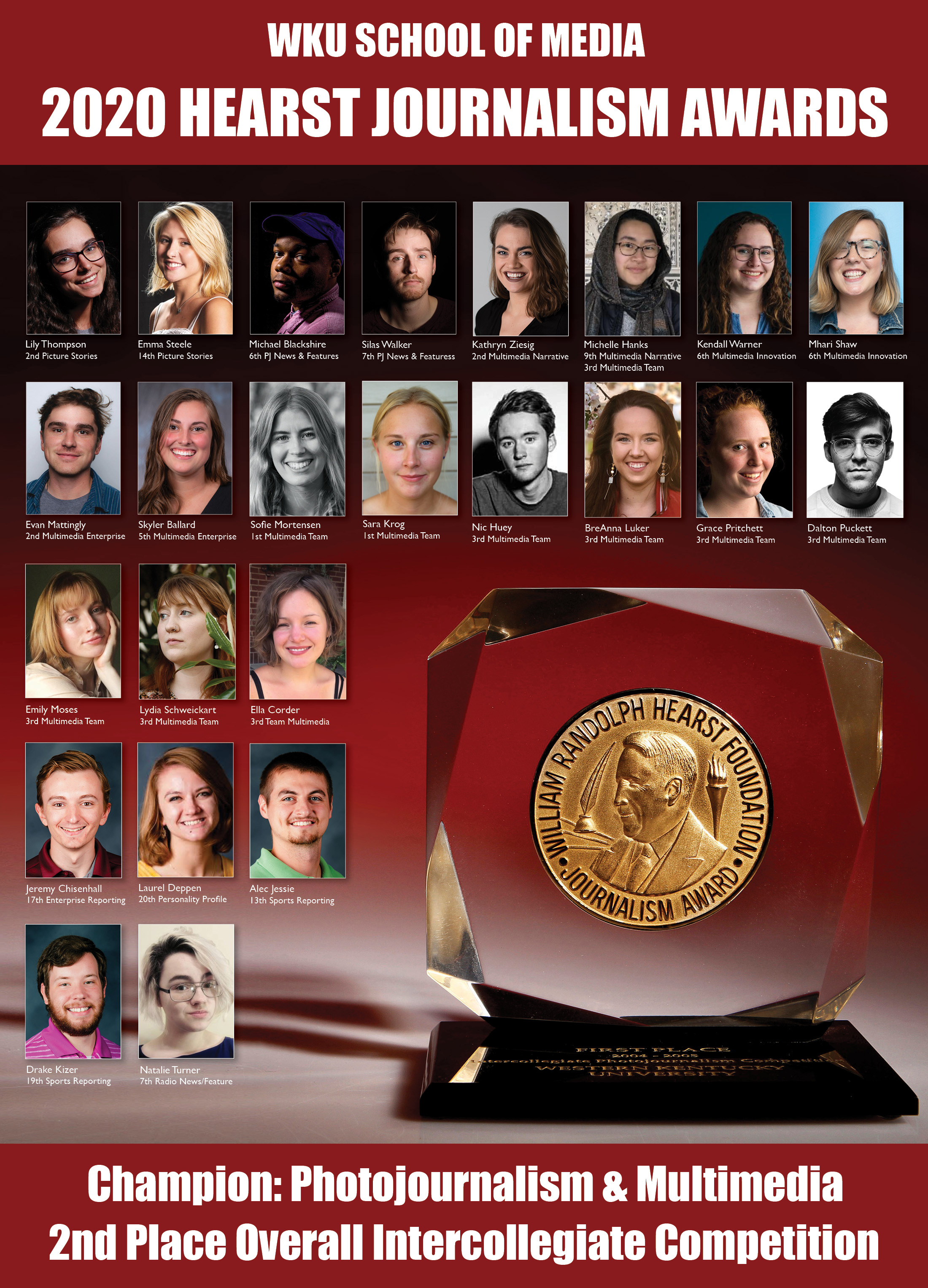 Hearst Award poster with images of student winners