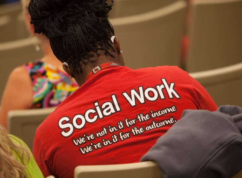 WKU Social Work student with SW shirt