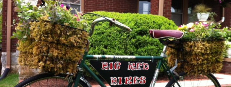 Big Red Bikes at the Office of Sustainability at 503 Regents Ave.