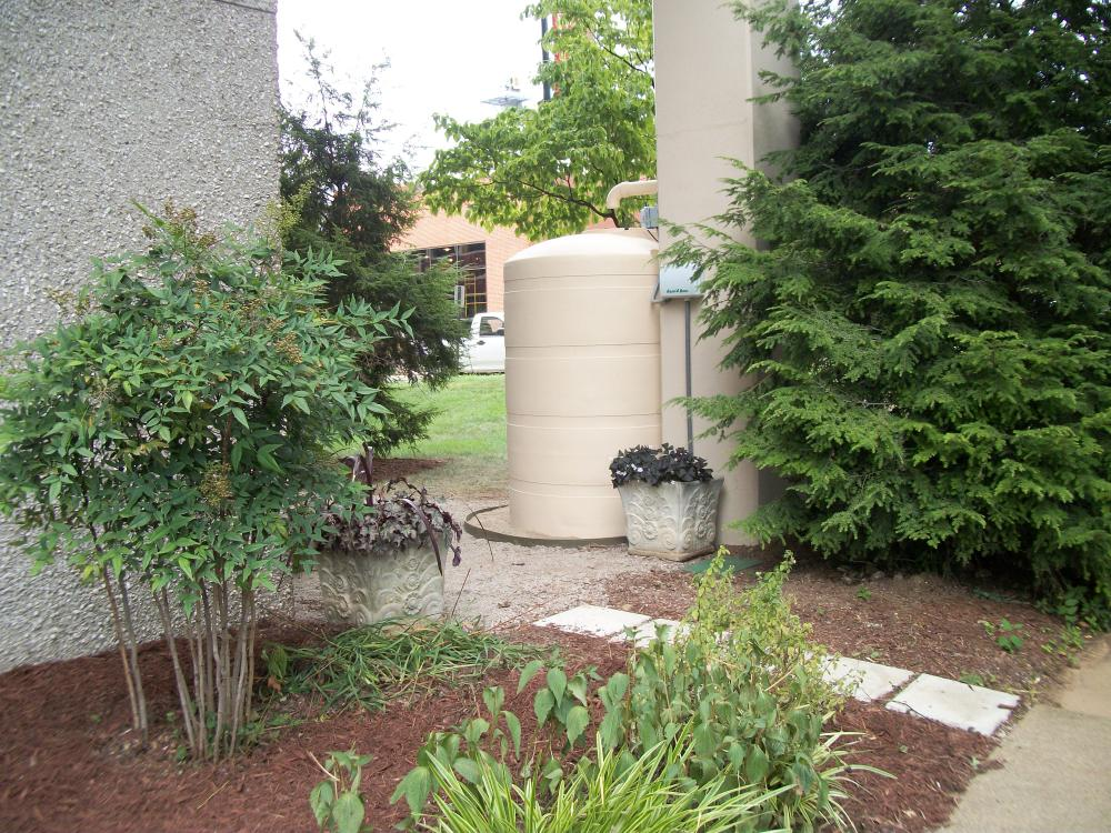 Rainwater Cistern located outside of Dept. of Facilities Management