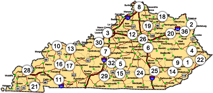 Kentucky map showing test proctoring sites