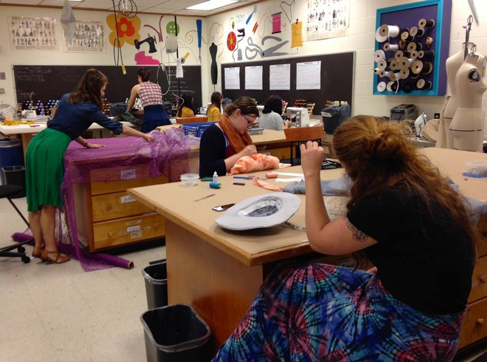 Students working on costumes for WinterDance.