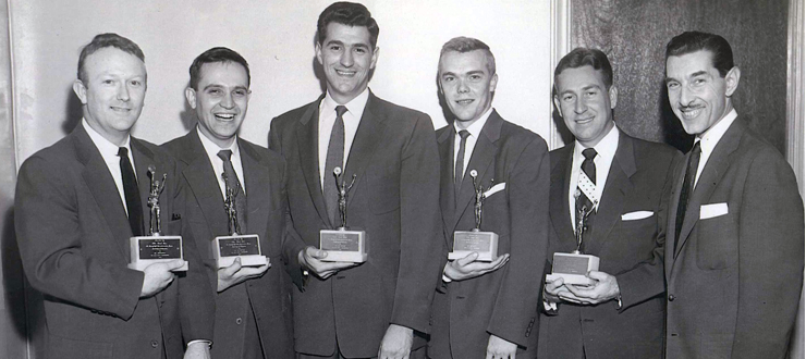 The Hilltoppers and Randy Wood received the 1953 Best Vocal Combination award from Bob Austin (far right) of Cash Box magazine. From 1952 to 1957, The Hilltoppers ranked in the top five on this poll.