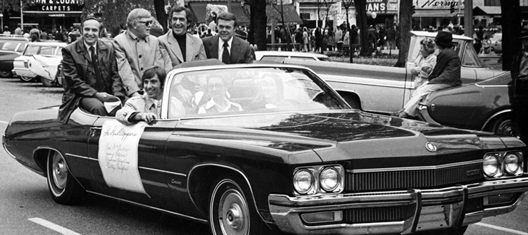 Hilltoppers Quartet in the 1972 homecoming parade in downtown Bowling Green, Ky. Seymour Spiegelman, Billy Vaughn, Jimmy Sacca and Don MgGuire.