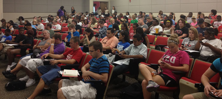 WKU students waiting for the Academic Advantage Series: Workshops for Success to begin.