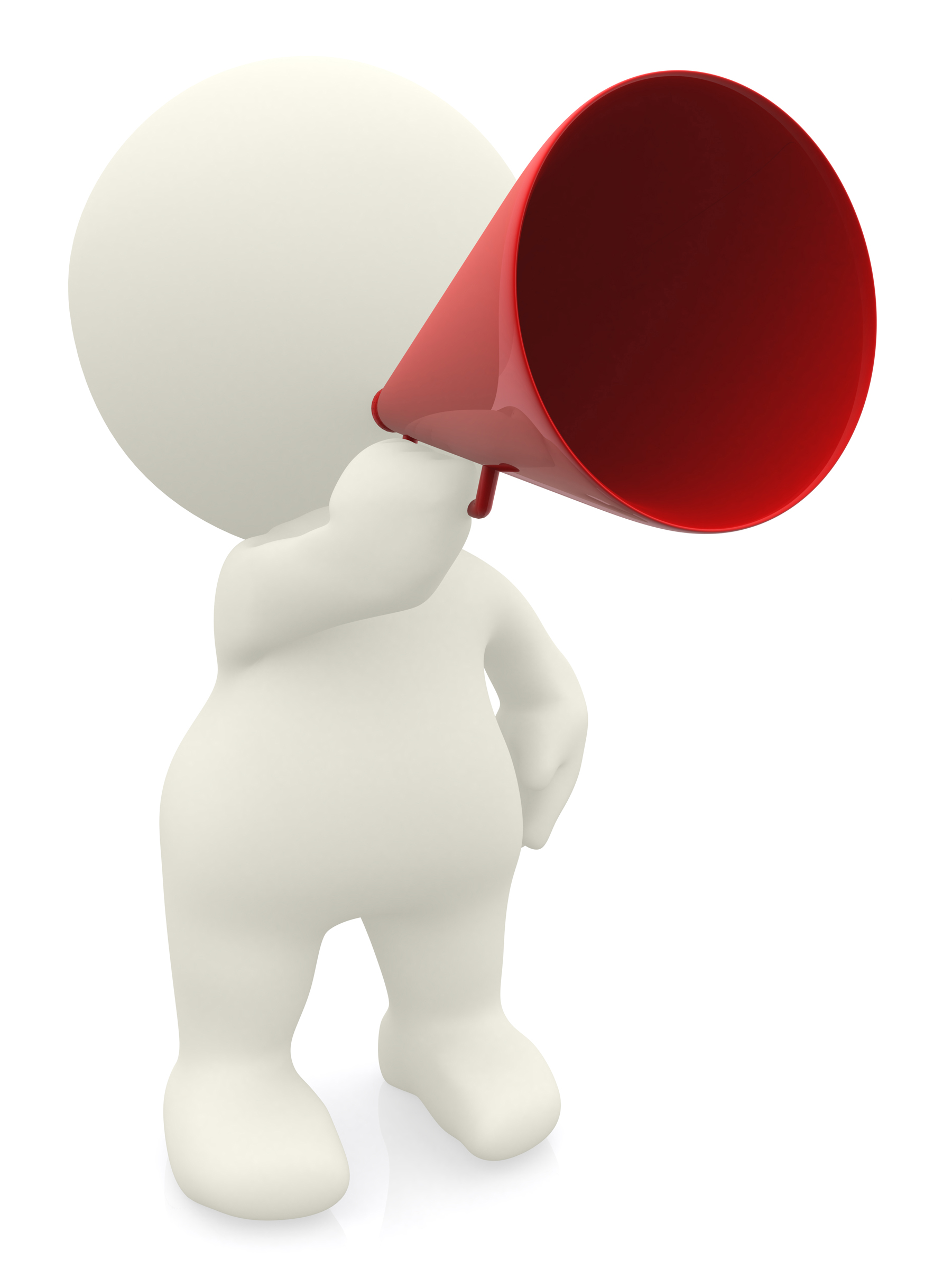 animated figure with megaphone
