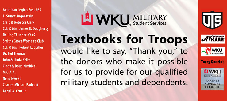 thank you to textbooks for troops sponsors