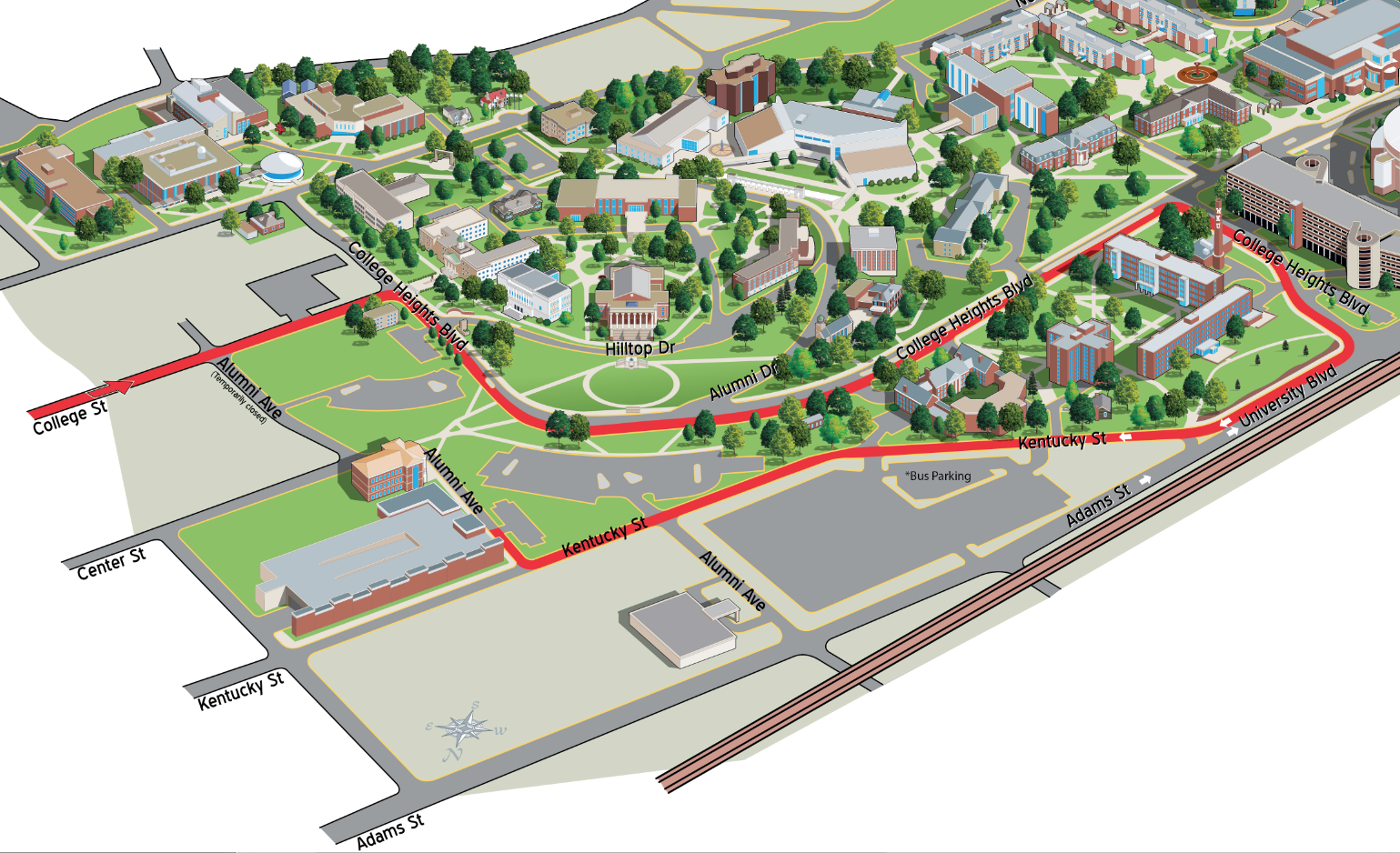 Kentucky Campus Map.Directions To Wku Western Kentucky University