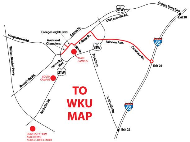 Map to WKU